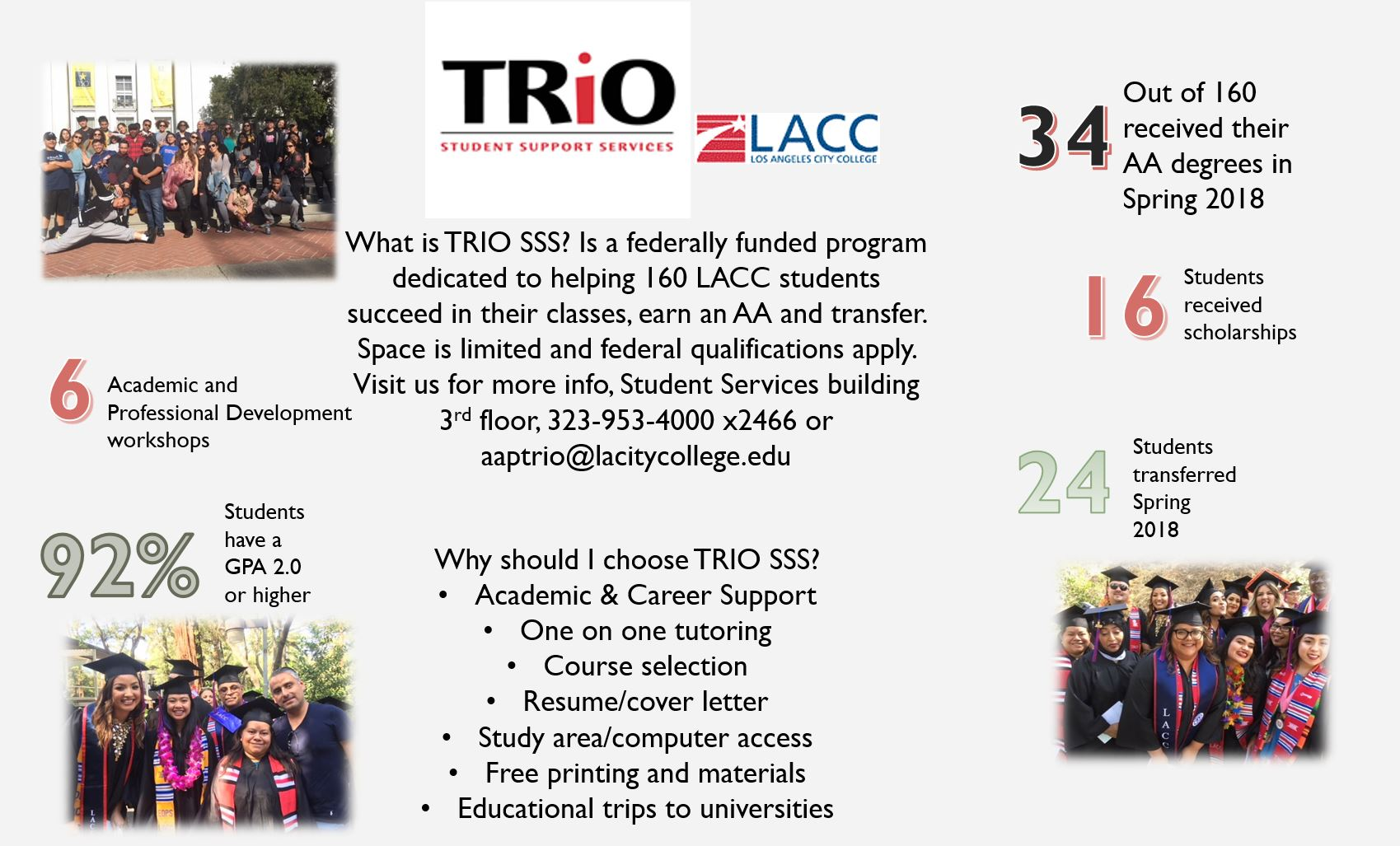 TRIO Facts about transferring, events, graduation