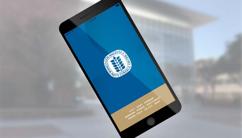 A smartphone displaying the new MyCollege.laccd.edu mobile app.