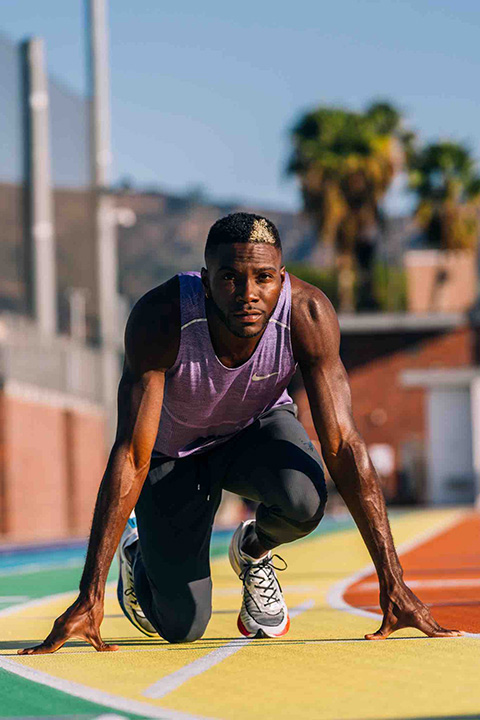 Two-time Olympic gold medalist in track and field Kerron Clement poses on the new BETRUE track at LACC