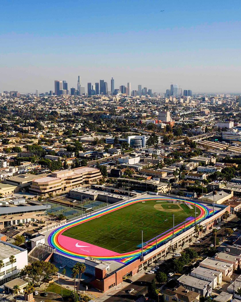 An aerial photo of the new BETRUE track with the LA skyline in the distance.