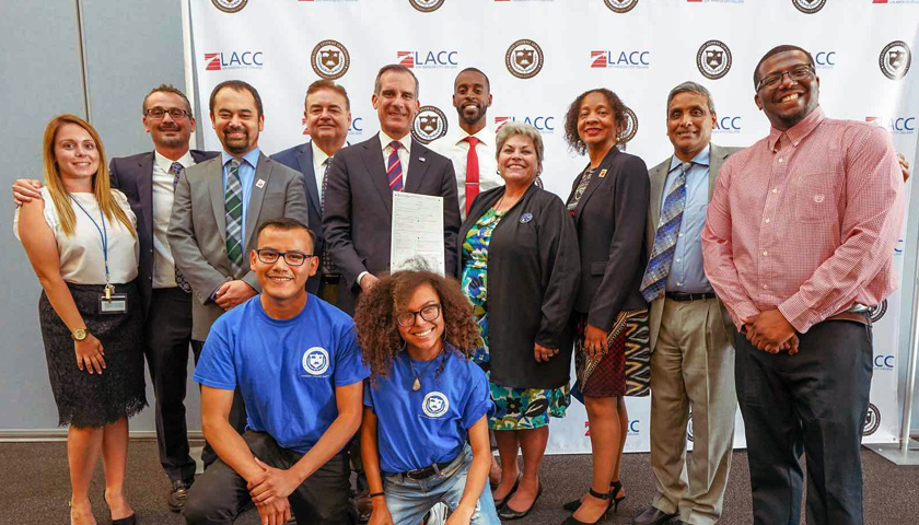 Mayor Eric Garcetti with members of LACC Senior Staff and the Associated Student Government