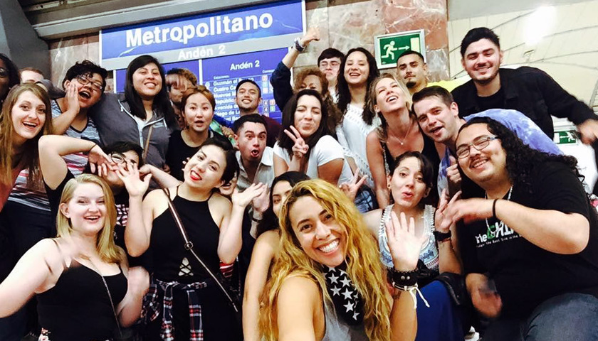 Students and Faculty pose for a selfie in Spain