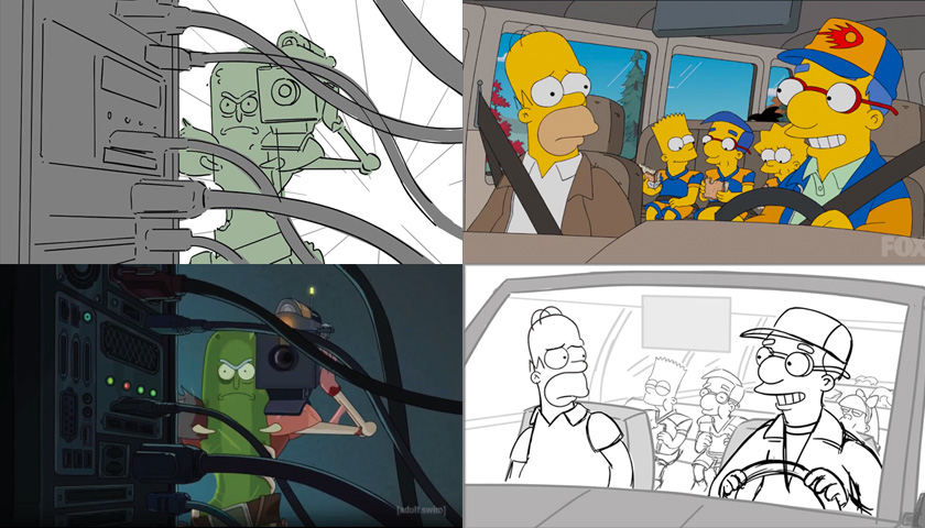 Examples of storyboards and the finished scenes they inspired