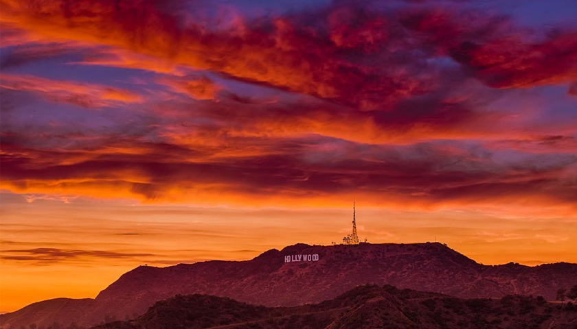 Sunset over the Hollywood Sign