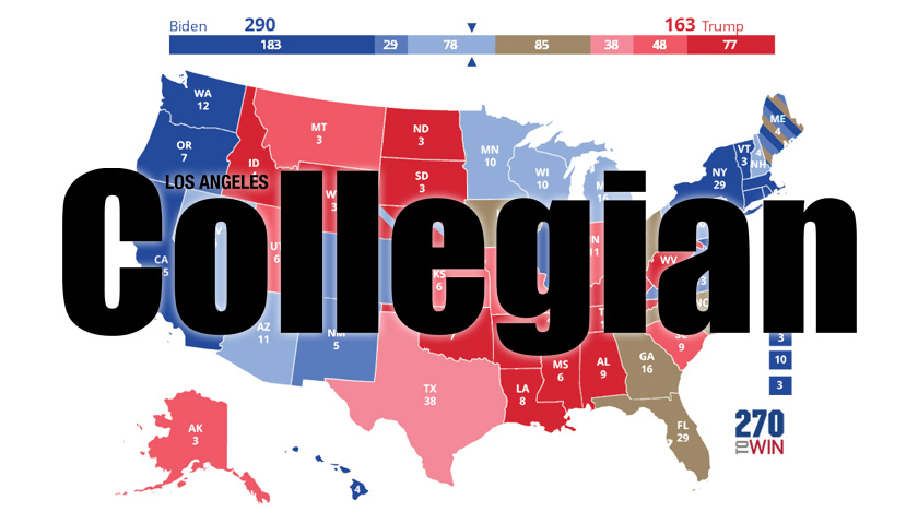 The logo for the Collegian student newspaper appears over an electoral college map.