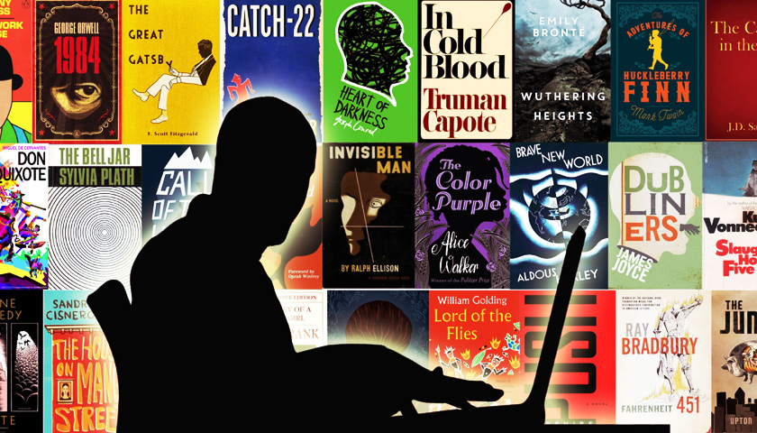 A writer is silhouetted against the covers of famous books.