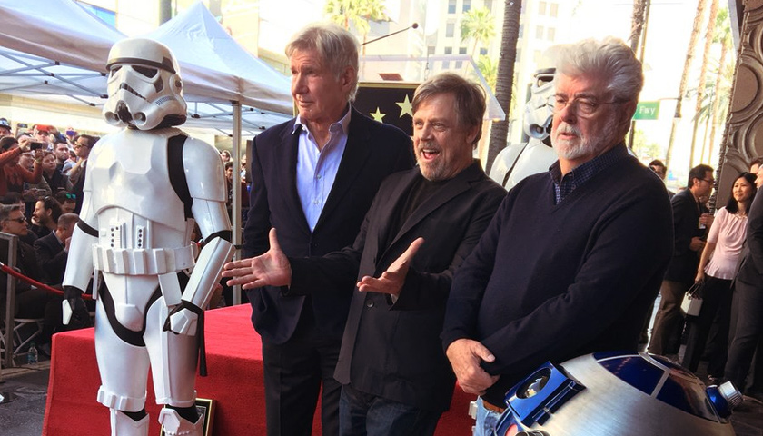 Mark Hamill, George Lucas, and Harrison Ford on Hollywood Boulevard