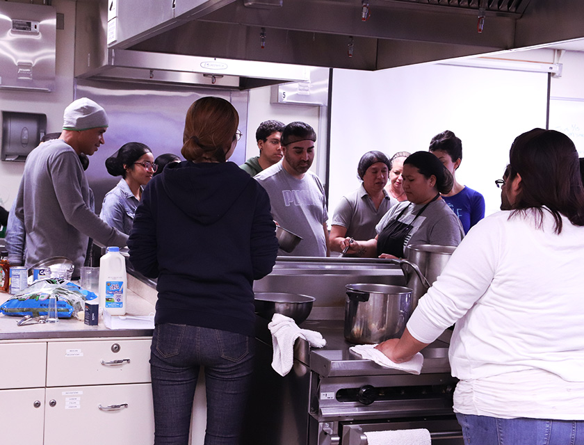 Students in the food lab.
