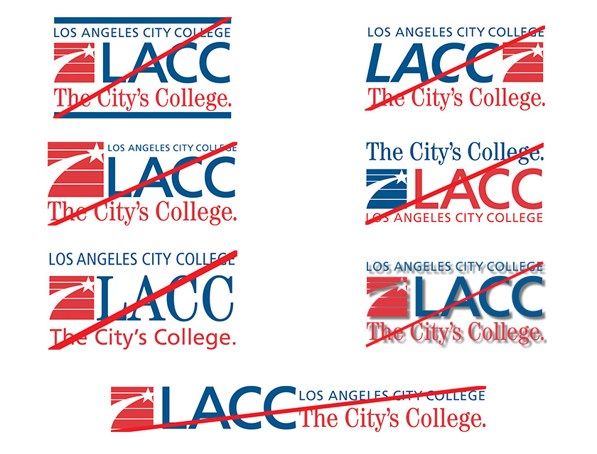 Examples of incorrect usage of the LACC logo
