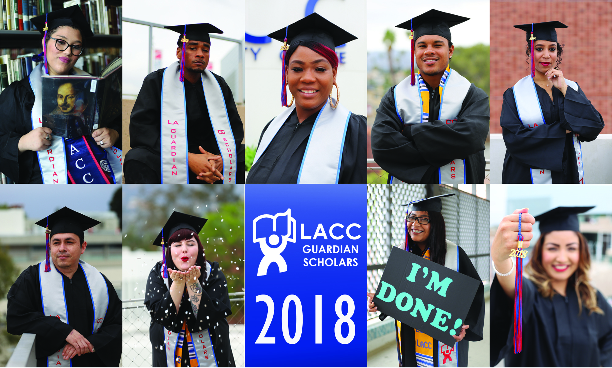 A collage of  9 of LACC Guardian Scholars graduates