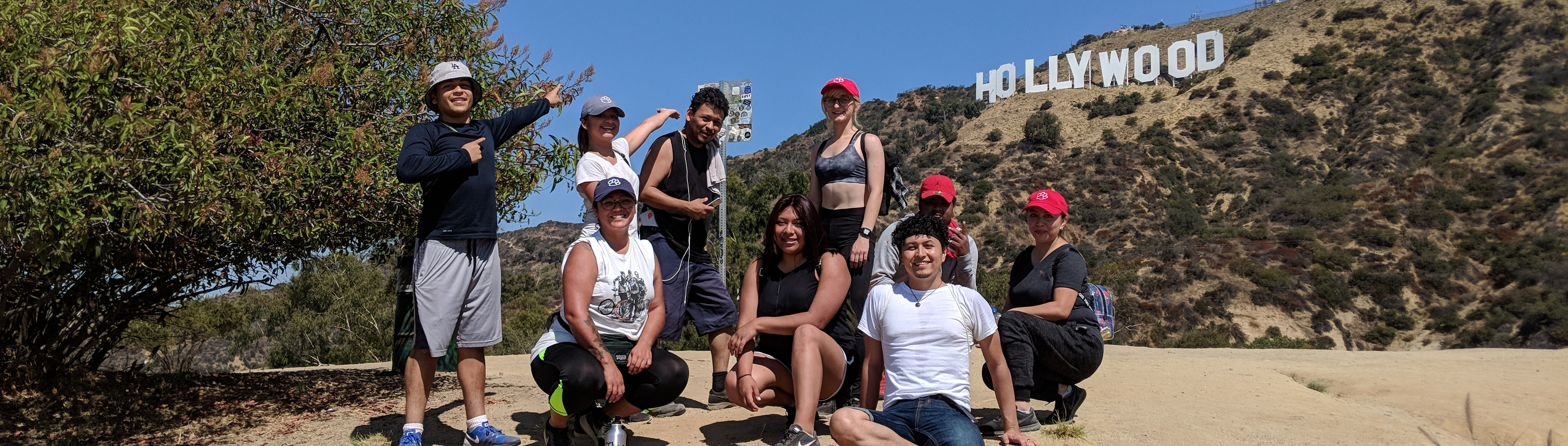 A group picture of staff and students at Hollywood Sign