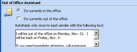 Web mail Out of Office Assistant