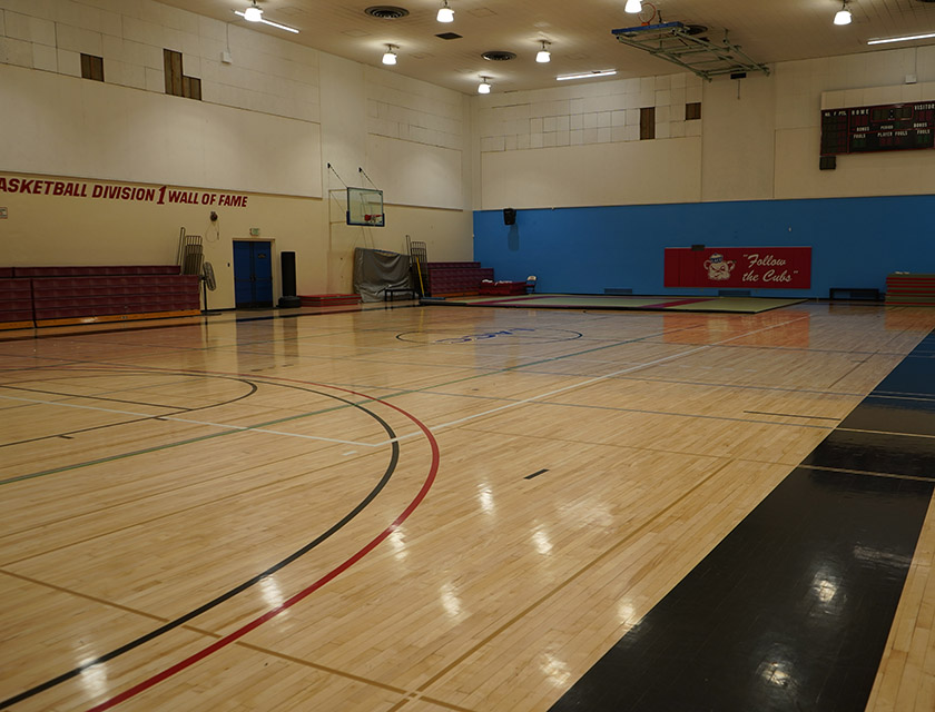 Gymnasium configured for basketball