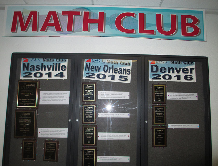 Math Department awards and certificates from 2014, 2015, and 2016