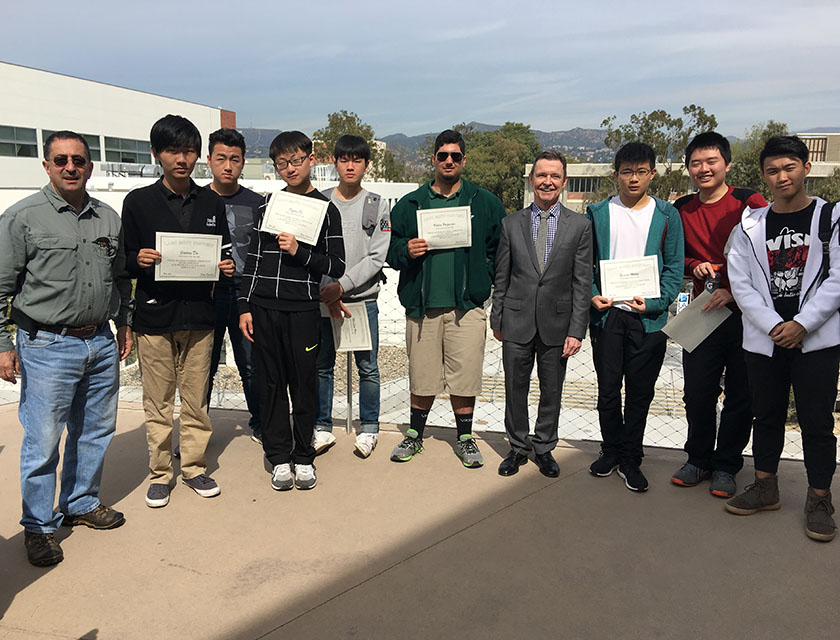 LACC's winning Math Team with awards