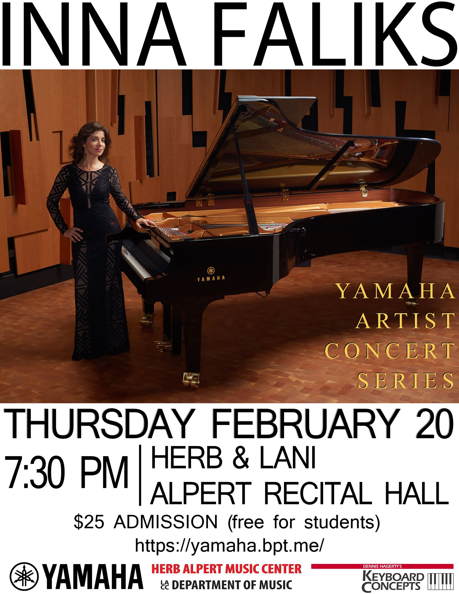 Concert Flyer: Yamaha Artist Concert Series, Inna Faliks, Thursday February 20th, 7:30pm, Herb & Lani Alpert Recital Hall