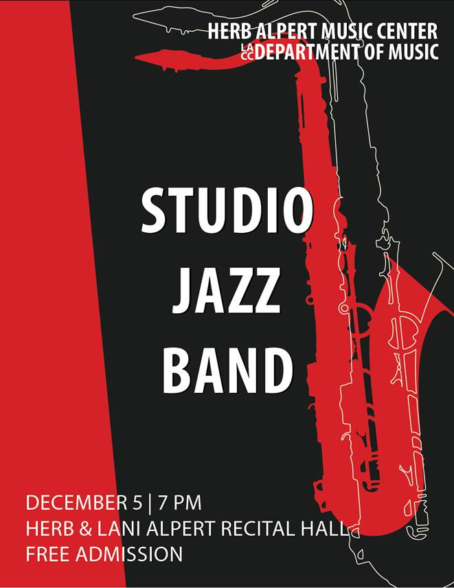 Concert Flyer: Studio Jazz Band. December 5, 2019 at 7pm. Herb and Lani Alpert Recital Hall.