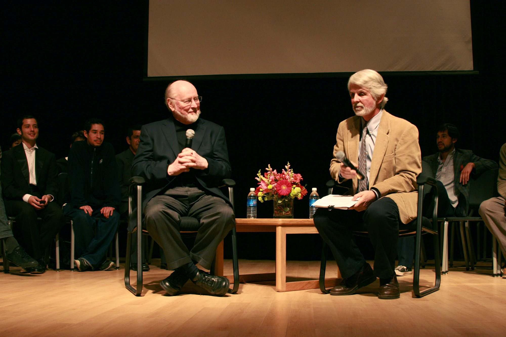 Academy Award winning composer John Williams in conversation with Professor Dutton, on stage in the recital hall.