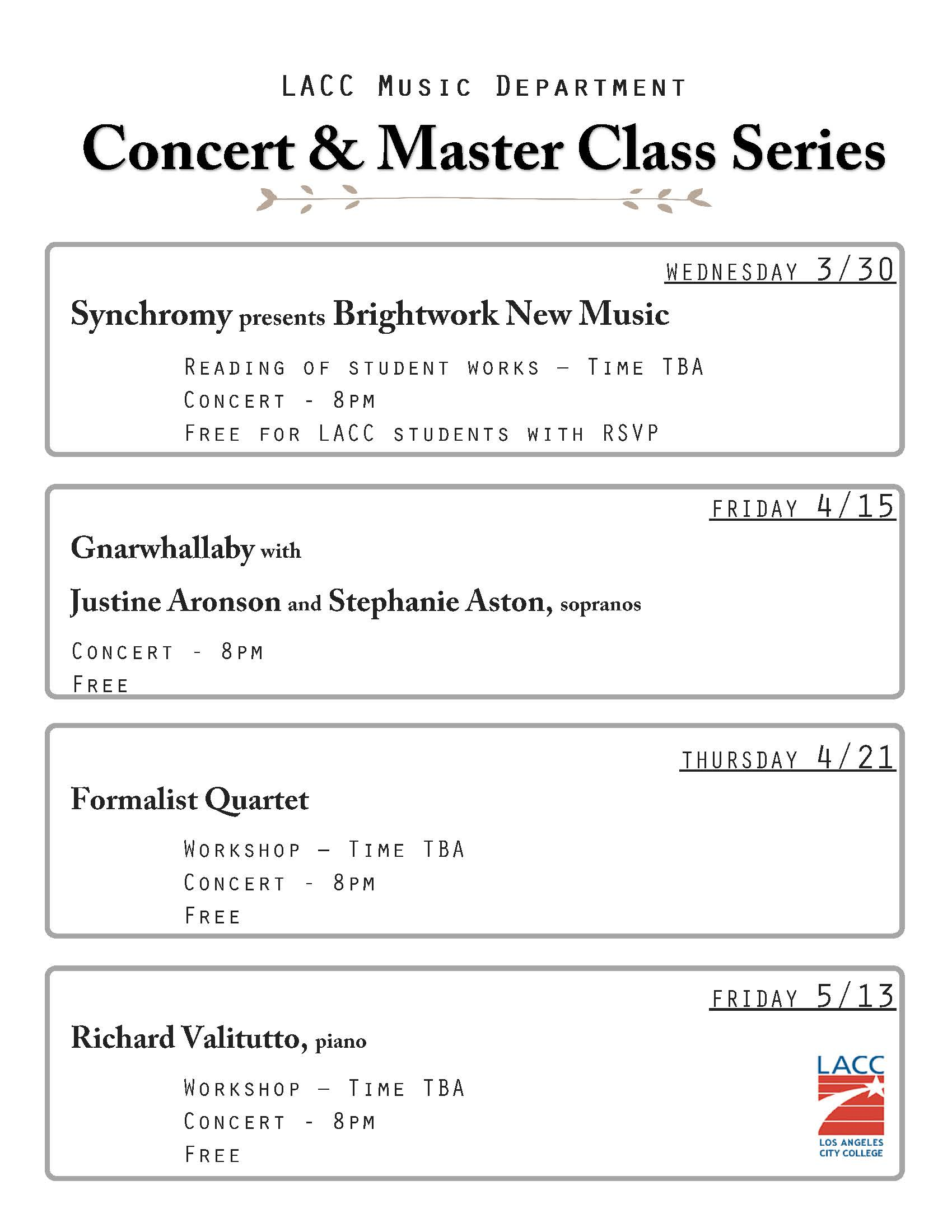 Concert and Master Class Series