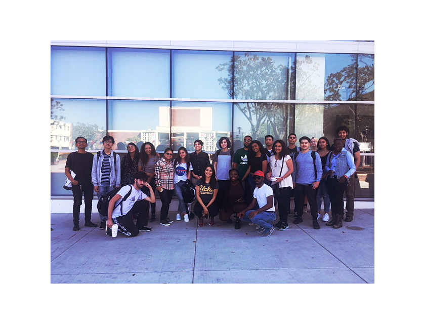 Ralph Bunche Scholars pose in front of the LACC Student Services Building