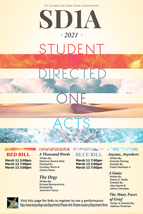 Poster for the Student Directed One Acts presented by the LACC Theatre Academy