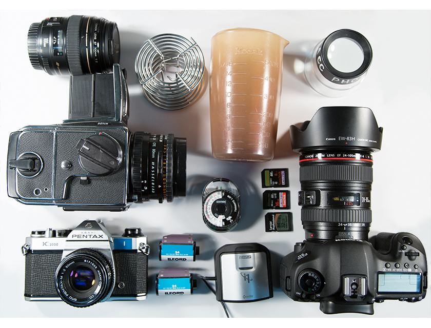 Cameras, Film, SD cards, Beakers