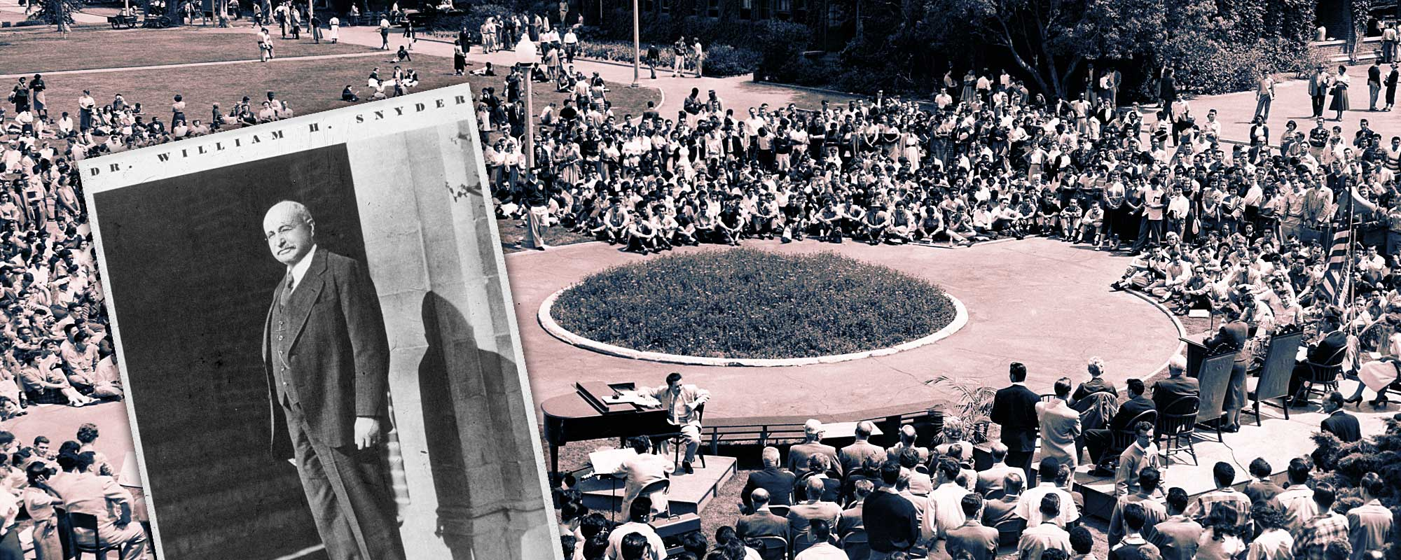 Dr. William H. Snyder, Director of LACC in 1929. Students gather in the quad in 1954 for the 25th Anniversary Celebration.