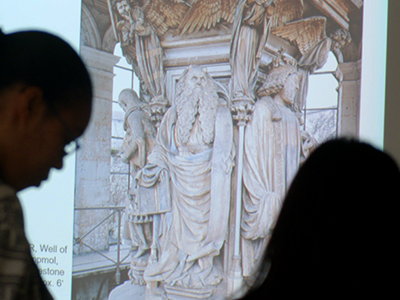 Students in an Art History class viewing ancient art