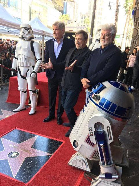 Mark Hamill appears with his star on the Walk of Fame