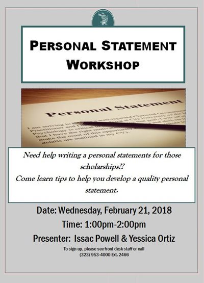 Upcoming scholarship workshop on 2/21/2018 1-2pm