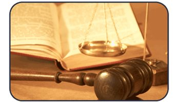 Gavel, book, and scales of justice